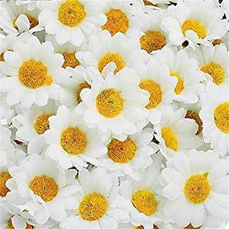 elegantstunning 100 Unids 4 Cm Flores Artificiales Margarita Blanca con El Centro Amarillo para El Banquete de Boda decoración del Hogar Libro de Recuerdos DIY