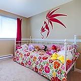 YuanMinglu EIN Vogel mit offenen flügeln Stop Blume wandaufkleber abnehmbare Wohnzimmer tapete wandvinyl Aufkleber Zitat Schlafzimmer Dekoration rot 56X57 cm