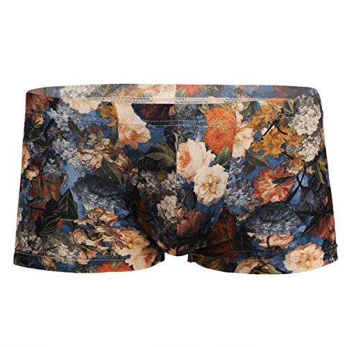 Freebily Herren Shorts Boxer Boxershorts Briefs Ultrabequem Retro Retroshorts Vintage Blumendruck Unterwäsche Unterhose Underwear Farbig und Langlebig Blau M