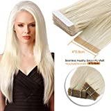 20inch , 60# : Neitsi 20pcs/pack 100% Tape in Human Hair Weft Extension Straight Glue Hair Weft (20inch, 60#)