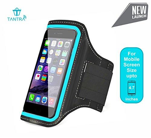 TANTRA Mobi-Blue Armband, Adjustable Sports Running, Jogging, Gym, Yoga, Anti-Slip Mobile Holder Like I-Phone 6, 6s, 7 & Redmi-2 Etc (Size 4.7 Inches, Black & Blue)