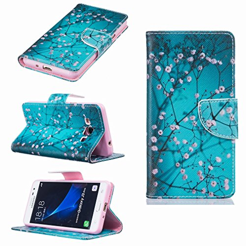 Coque Samsung Galaxy J3 Pro Etui, Ougger Fleur de Prunier Portefeuille Housse PU Cuir Magnétique Stand léger Soft Silicone Protecteur Flip Pochette Bumper Caoutchouc Cover Case avec Fente pour Carte