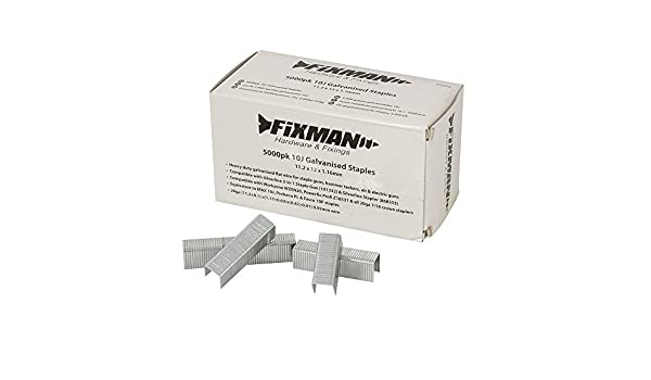 470282 Fixman 10J Galvanised Staples 5000pk 11.2 x 8 x 1.16mm