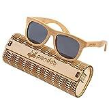pandoo ♻ occhiali da sole in bambù, con custodia, cacciavite e borsa–Lenti Polarizzate/UV400–, diversi colori e lenti specchiate//Unisex//protezione UV Bambus / Schwarz