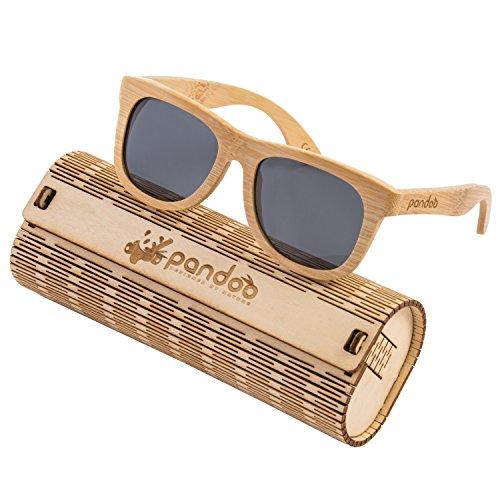 pandoo Bambus-Sonnenbrille mit Brillen-Etui, Schraubenzieher und Tasche - polarisiert & UV400 -...