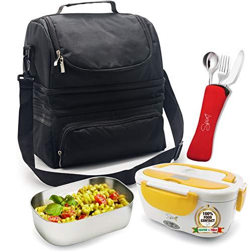 Spice borsa termica caldo e freddo big size grande capacità 22 l con tracolla porta pranzo + scaldavivande amarillo inox 1,5 l + set 3 posate in acciaio inox