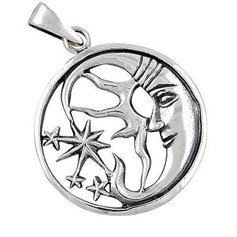 Mond und Sterne Anhänger aus 925-Silber