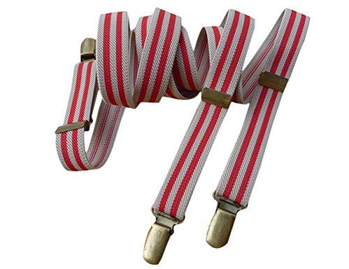 Lawevan® Herren Elastische Und Einstellbare 2cm Breite Rote Und Weiße Streifen Vintage Style Hosenträger Y Form Hosenträger