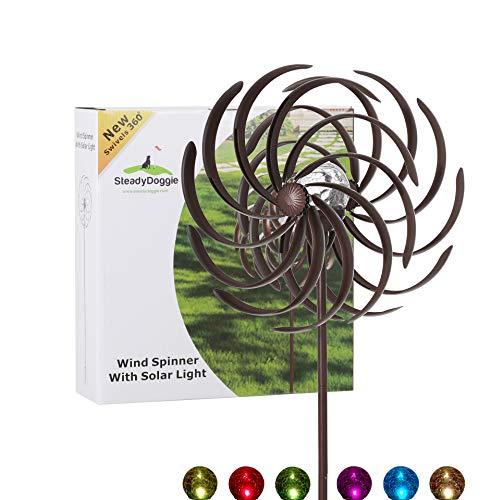 Solar-Windrad & Mehrfarbiges LED-Licht für Rasen, Hof & Garten, Antik-Bronze-Stil & Wasserdichtes Wetterfestes Material, Standfestes Körperhohes 154,9 cm Metall-Windrad, Einfache Montage