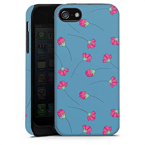 Apple iPhone X Silikon Hülle Case Schutzhülle Blumen Blau Herz Tough Case matt