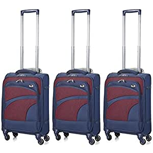 Aerolite Ultra Lightweight Carry On Hand Cabin Luggage Spinner Suitcase Travel Trolley with 4 Wheels (3 x Cabin, Navy)