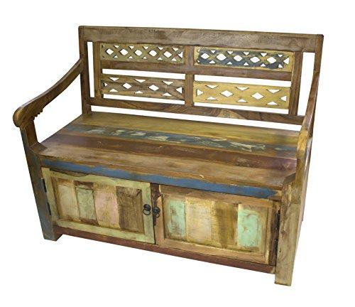 Sitz-Bank 117cm aus recyceltem Holz mit Stauraum (Kolonial Schuhe)