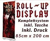 Roll up Display 85x200cm inkl. Druck Banner Displays Roll-UP Werbedisplay Werbeständer Firmendruck Bannerdisplay 12A04, Roll up Größe:85cmx200cm