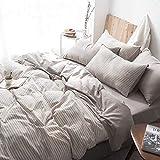 XMDNYE Baumwolle Und Hanf Waschen Vier Stück Leinen Aus Baumwollleinen, Steppdecken, Dünne Streifen Und Bettwäsche, Kaffeebar, 2,0 M Langes Bett