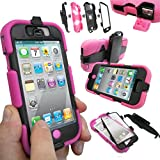 Coque Protection Robuste Usage Survivant Antichoc Robuste pour iPhone 3 3G 3GS - Apple iPhone 4S / 4, Rose vif