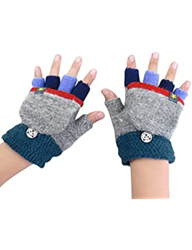 Kinder Halbfinger Handschuhe Fingerlose Fäustlinge Warm Mehrfarbige Strickhandschuhe Fingerhandschuhe mit Flip...