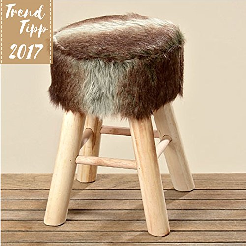 Boltze Hocker MILAN aus Holz und Textil (Holz Milan)