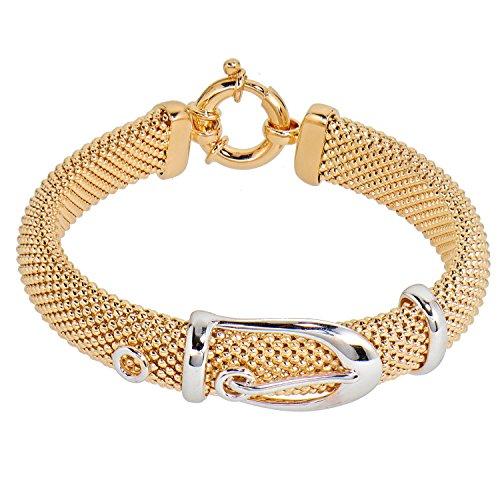 Aleksander Sternen Bronze Star Damen Armband Gürtelschnalle vergoldet rhodiniert 22cm