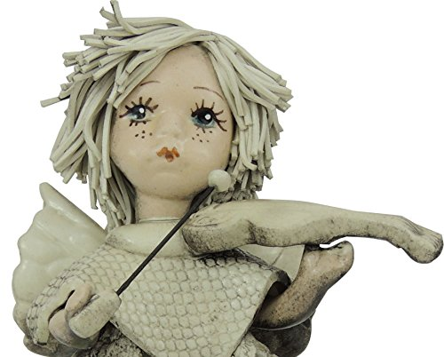 Usado, Zampiva ángel de cerámica con violín hecho antiguo segunda mano  Se entrega en toda España