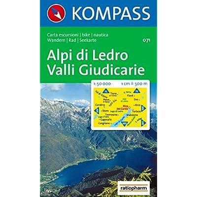 Carta Escursionistica N. 71. Lago Di Garda. Alpi Di Ledro, Valli Giudicarie 1:50000