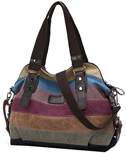 Coofit Damen Handtasche/Umhängetasche Canvas Multi-Color-Striped Damen Shopper Tasche Hobo Bag