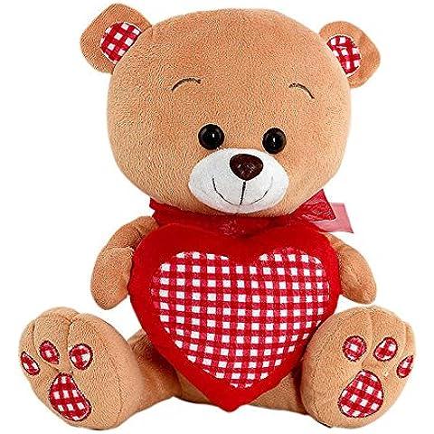 Peluche oso marrón con corazón de cuadros rojos (28 cms) [Juguete]
