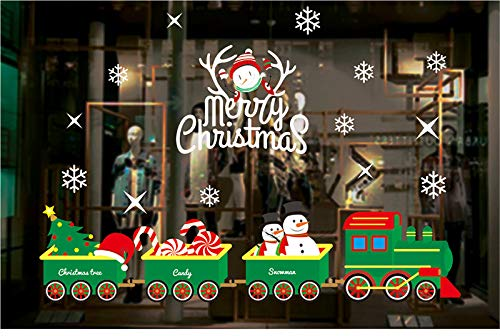 Zenoplige Paquete de 2 Pegatina de Navidad, 50 * 70 CM Vinilos Stickers Año Navidad Pegatinas Decorar Las Ventanas de Tienda Cafetería Casa.