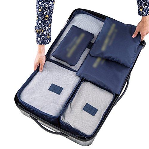 Dexinx Kleidertaschen Set 6-teilig Wasserdicht Netzgewebe Reisetasche in Koffer Wäschebeutel Kosmetik Aufbewahrungstasche Grün