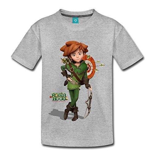 Spreadshirt Robin Hood Schlitzohr Von Sherwood Mit Bogen Kinder Premium T-Shirt, 98/104 (2 Jahre), Grau meliert