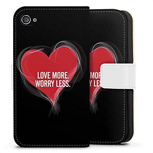Apple iPhone X Silikon Hülle Case Schutzhülle Liebe Sprüche spruch Sideflip Tasche weiß
