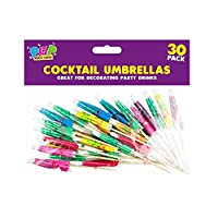 80s Material Girl 30 Pack of Cocktail Umbrellas Beach Party Paper Umbrella Cocktail Drink Decorations Mixed Colours Tropical Fruit Toppers