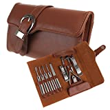BestFire 11pcs Manicure Set Luxury/Deluxe Genuine Brown Leather Nail Care Personal Manicure