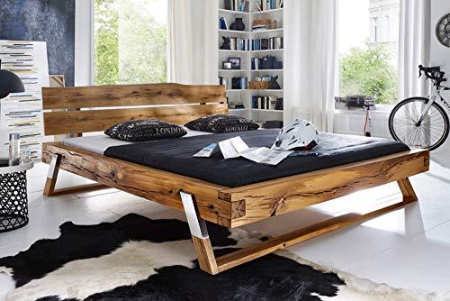 Riess Ambiente Massives Bett Thor III 180x200cm Wildeiche geölt Edelstahlfüße Holz Bett Holzbett Doppelbett