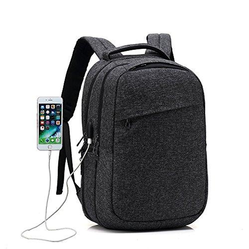 Sac à dos pour ordinateur portable avec USB Chargement et Port pour Écouteurs Sac imperméable Sac de voyage Sac de plein air campus 15/15.6 pouces / V...