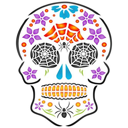 Halloween Sugar Skull Schablone - 16.5 x 21.5cm - ()