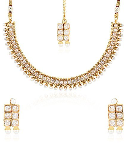 YouBella Gold Plated Necklace Jewellery set with Earrings For Women