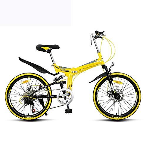 Grimk Faltrad Mountainbike Herren Fahrrad Klapprad Damen Leicht 22 Zoll Klappfahrrad Faltfahrrad Aus Aluminium,urban Bike Herrenfahrrad Alu,klappbar,einstellbar 15 Kg,Yellow