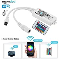 Wifi RGB Tira LED Controlador - Alexa, Google Home, IFTTT, WiFi Teléfono Inteligente Inalámbrica Compatible - IR Remote Control para 5050/3528 RGB Tiras LED