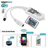 Wifi Smart Controller für LED RGB Wifi Streifen Licht 5050 3528 5-28V Arbeiten mit Alexa Android und IOS Phone Kostenlose App Kommen mit 24 Tasten Fernbedienung