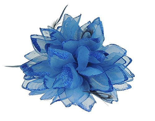 Haar Blume Fascinator Haar Krawatte Clip Royal Blau (Blume Und Feder-haar-clips)