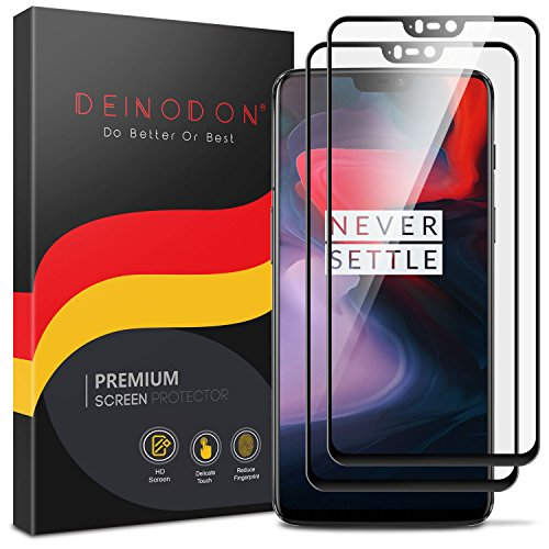 DEINODON 2 Stück Panzerglas 3D Full Screen Panzerglas Schutzfolie für OnePlus 6 Panzerglasfolie Vollverklebt Displayschutzfolie Ultraklar Schutzglas Ultradünn 9H Tempered Glass Screen Protector