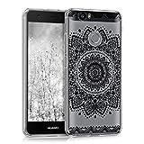 kwmobile Hülle für Huawei Nova - TPU Silikon Backcover Case Handy Schutzhülle - Cover klar Blume Design Schwarz Transparent
