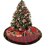 Shelly home 45 Inch Red Black Buffalo Lattice Tree Skirt Decor Decorative Crafts Plush Ornaments