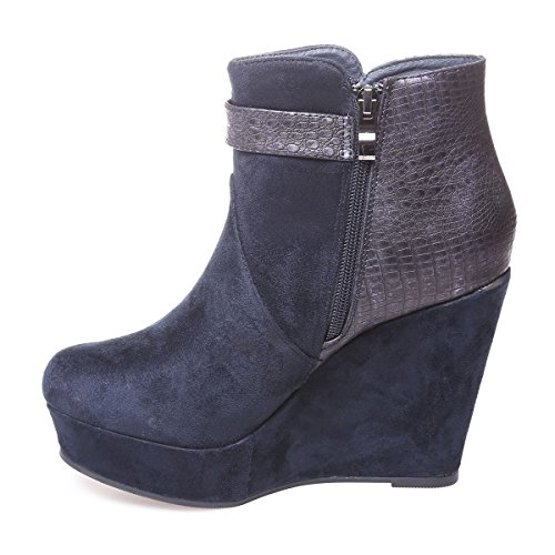 Fashionista Tacco Materiale Finta Scamosciata Pelle Le Blu Femminile Stivali wq1Cp