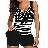 Riou Bademode Damen Tankinis Große Größen Sexy Push Up Bikini Sets Zweiteilige Farbverlauf Badeanzug Strandkleidung mit Bügeln Triangel Für Sommer Beach Sportlich Schwimmanzug (L, Schwarz F)