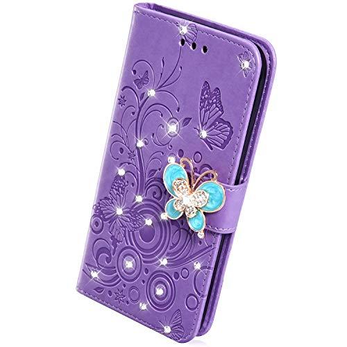 Handyhülle Kompatibel mit Samsung Galaxy A6 2018 Hülle Leder Tasche Glitzer Diamant Strass Glitter Schmetterling Blumen Flip Case Klapphülle Handytasche Karteneinschub Magnetverschluß Ständer,Lila