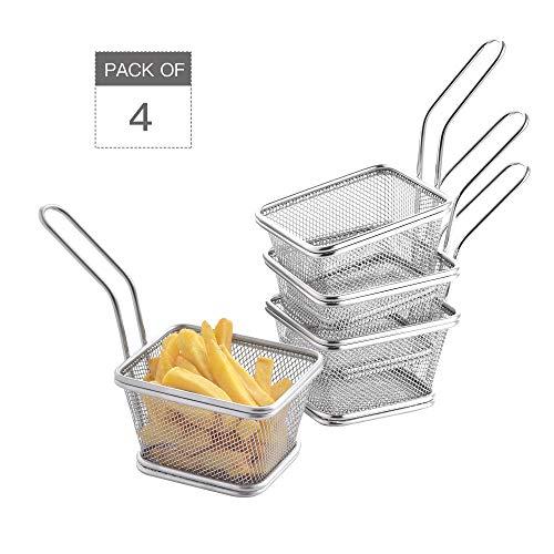 Velaze Set da 4 Cestelli per Friggitrice in Acciaio Inox, Mini Chips Cestini per Friggere Alimenti Filtro per Patatine Fritte Crisps Zeppe Anelli di Cipolla da Cucina, Argento (10,5 x 8,5 x 6,5 cm)
