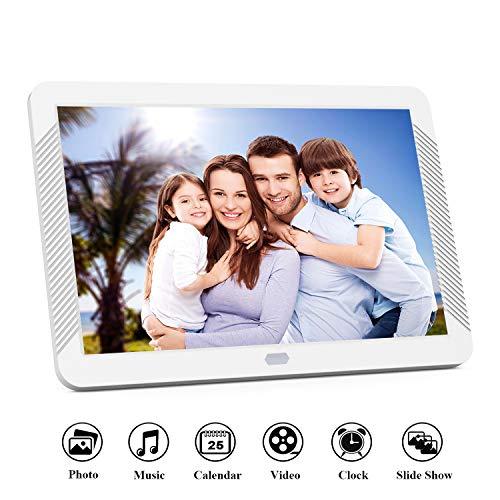Digitaler Bilderrahmen 8 Zoll 1920x1080 Hochauflösend Full IPS Bildschirm Video Musik Player mit Kalender/Wecker, Elektronischer Fotorahmen mit Fernbedienung, Weiß
