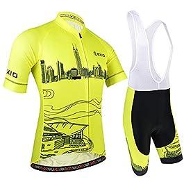 BXIO Abbigliamento Sportivo per Bicicletta, Maglia Ciclismo Maniche Corte con Pantaloncini Abbigliamento per MTB Ciclista, Modello di Città, Giallo