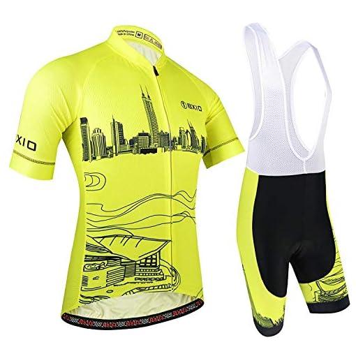 BXIO Maglia Ciclismo Maniche Corte e Pantaloncini, Giallo
